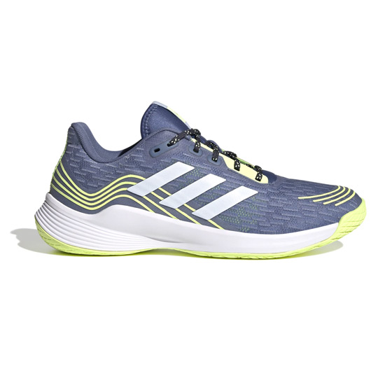 Adidas Men's Novaflight Court Shoes (Crew Blue-Halo Blue-Hi-Res Yellow)