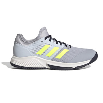 Adidas Court Team Bounce Indoor Court Shoes (Halo Silver-High-Res Yellow-Halo Blue)