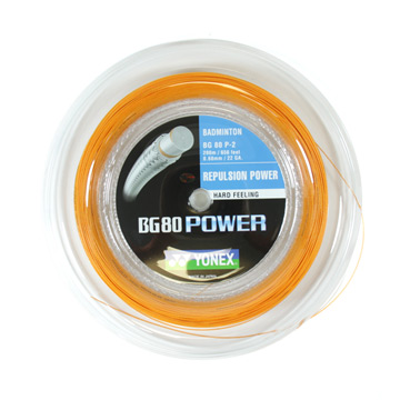 Yonex BG 80 Power (200 metre reel) Badminton Racket String (Orange)